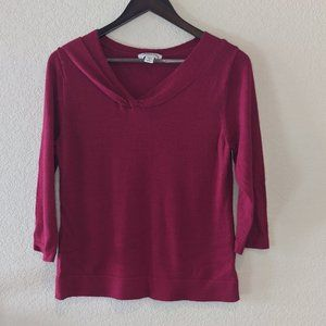 Coldwater Creek twist neck sweater Deep Red Med